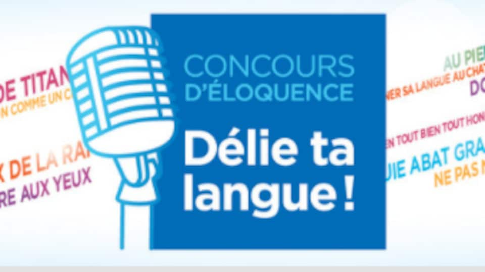 Le logo du concours d'éloquence « Délie ta langue » entouré de mots.