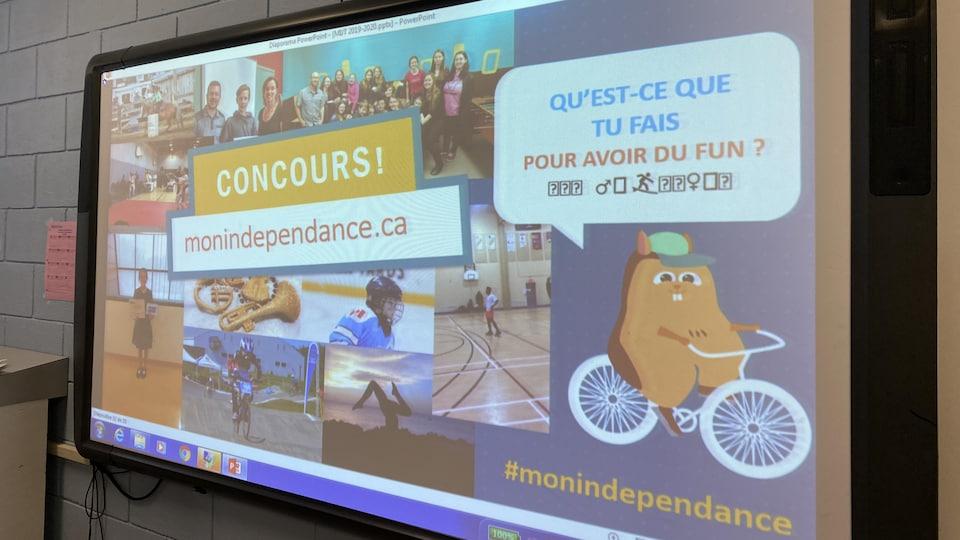 Un écran montre un montage photo pour un concours sur les dépendances.