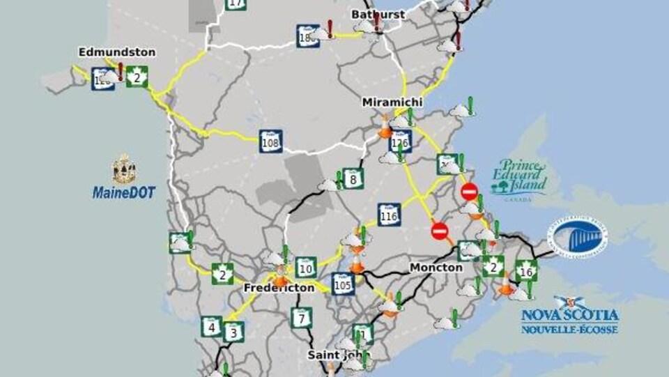 Une carte indiquant les routes à risque.