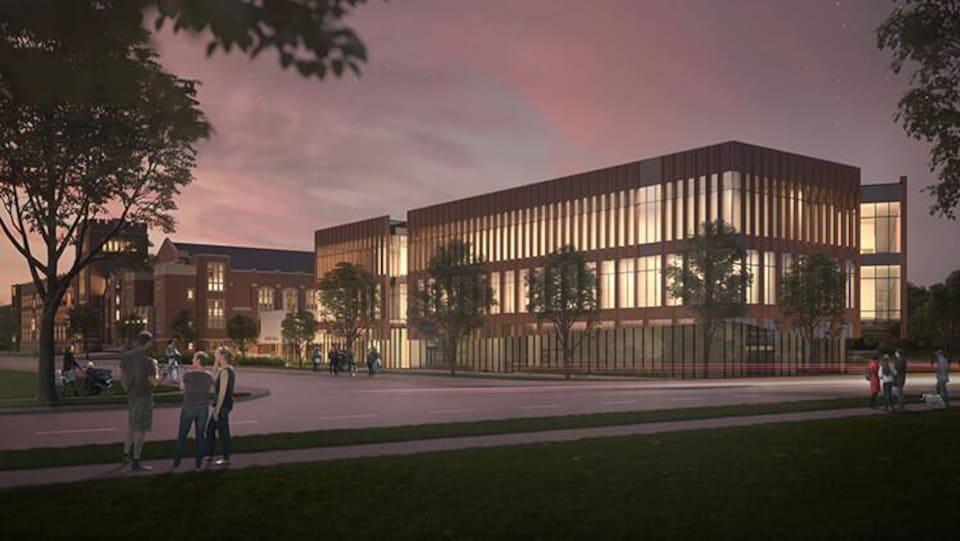 Image de synthèse montrant un bâtiment ajouré et moderne dans un parc au coucher de soleil.
