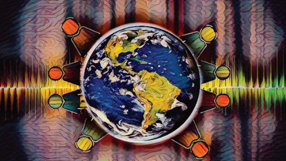 La toile de Carlisle Boivin «Unis pour les ondes» a été choisie pour illustrer le 11e Congrès mondial des entenderus de voix. L'œuvre représentant la population du monde s'unissant pour parler d'un sujet encore tabou.