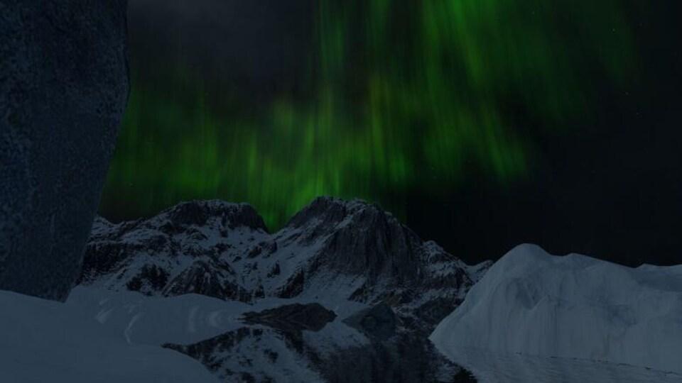 Une représentation virtuelle des Rocheuses canadiennes la nuit. Des aurores boréales illuminent le ciel.