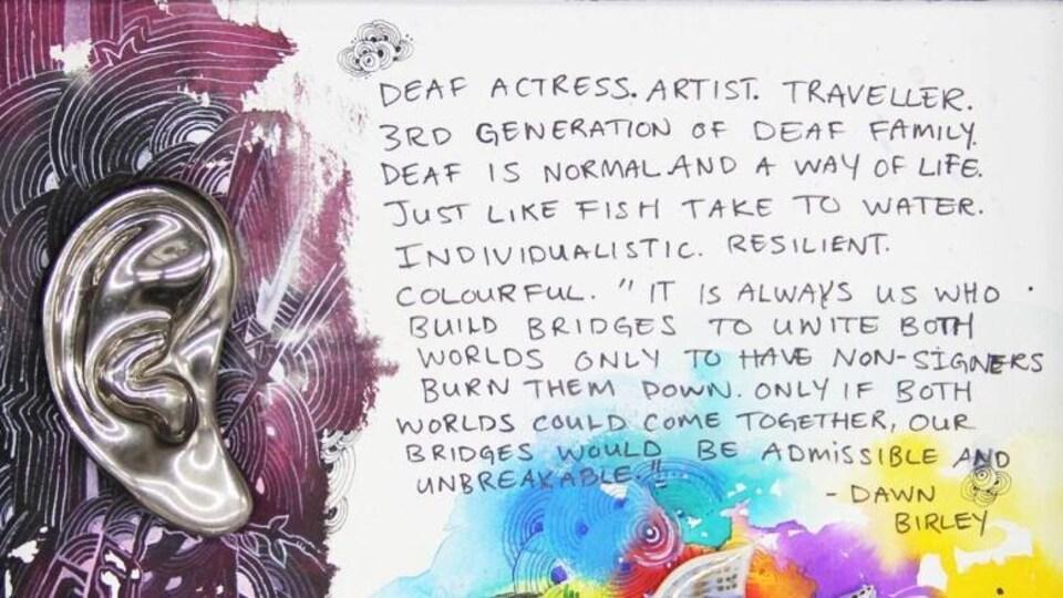 Un message est écrit sur un papier. Un dessin d'une oreille dorée se trouve à gauche du message.