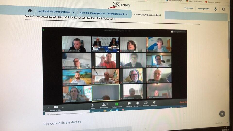 Une capture d'écran de l'assemblée par vidéoconférence