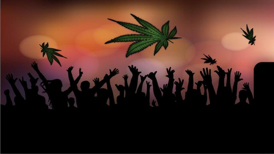 Une illustration montrant une foule soulevant des feuilles de cannabis.