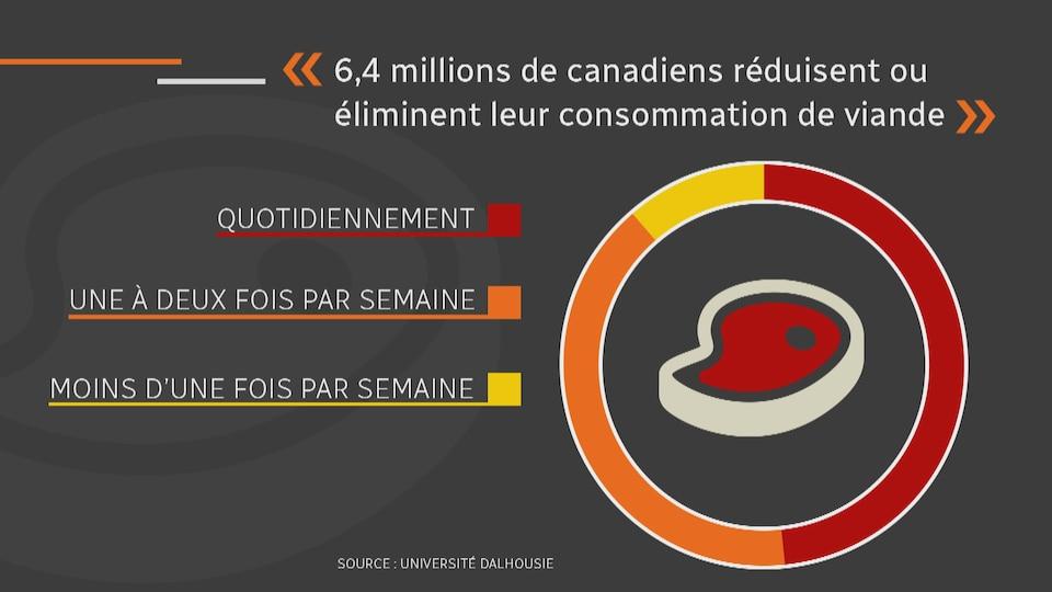Un graphique montre qu'environ 1 personne sur 2 consomme de la viande quotidiennement. 1 sur 4, une à deux fois par semaine et 1 sur 10, moins d'une fois par semaine.