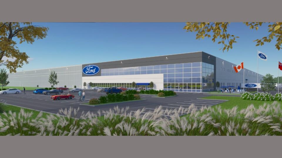Image créée illustrant le futur centre de distribution.