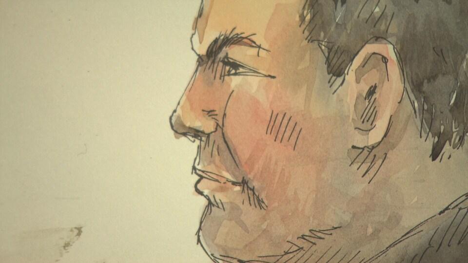 Un dessin du profil du visage d'un homme.