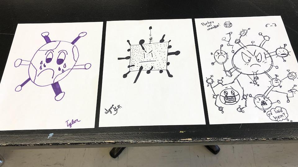 Tyler, Alyssa et Coralie, de l'école Le Domaine Étudiant, de Petit-Rocher, ont pris quelques minutes seulement pour dessiner ce à quoi pourrait ressembler le coronavirus.