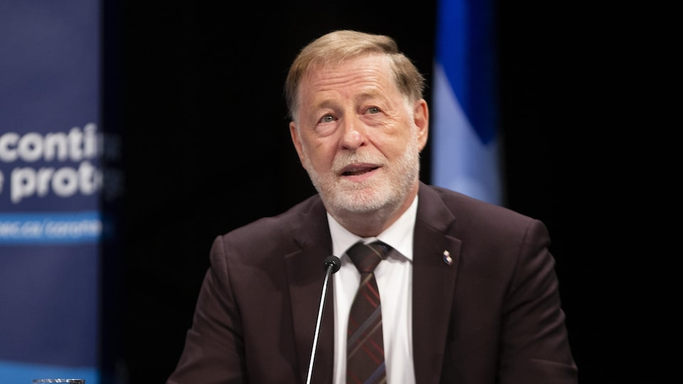 Marc Demers en conférence de presse, le 25 mai 2020.