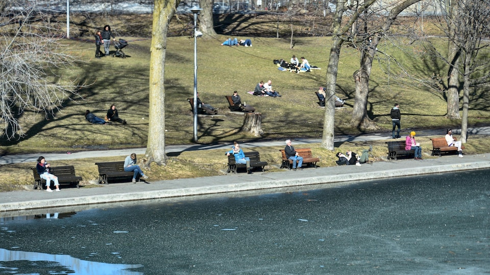 Des personnes sont assises dans un parc.