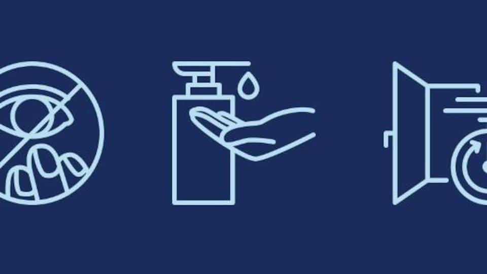 Pictogrammes représentant : vérifier la température corporelle, ne pas se mettre les doigts dans le visage, se laver les mains, aérer les pièces, éviter les foules.