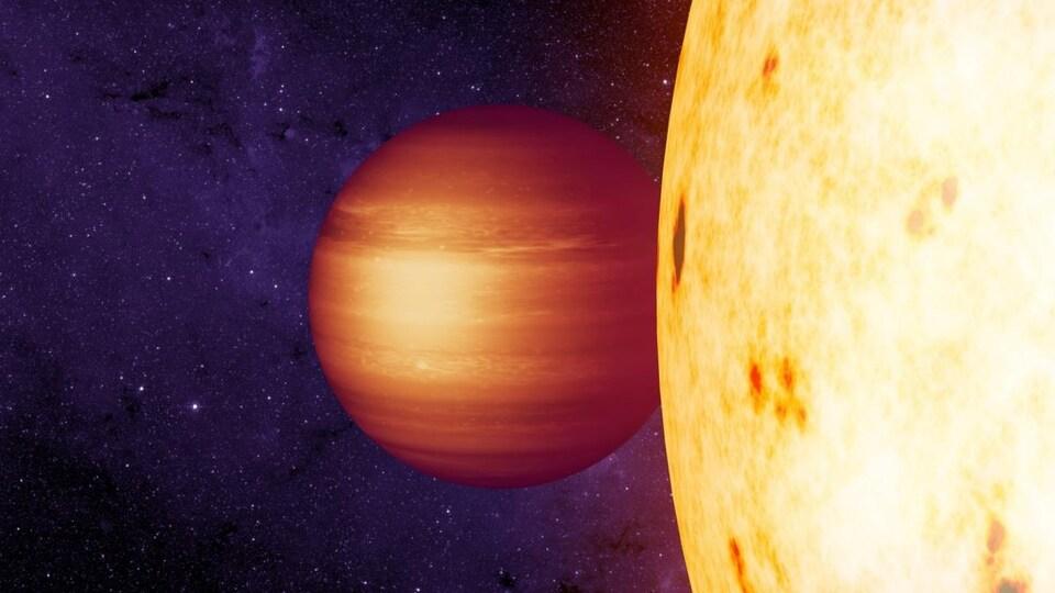 Représentation artistique qui montre la géante gazeuse CoRoT-2b, dont le point le plus chaud se trouve à l'ouest du point le plus proche de son étoile.
