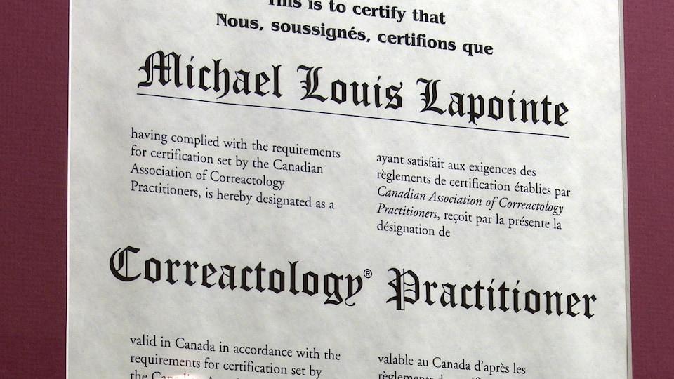 Le diplôme de Michael Louis Lapointe.
