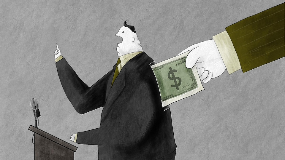 Illustration d'un politicien qui est aussi une tirelire : une main lui glisse un billet de banque dans le dos tandis qu'il prononce un discours.