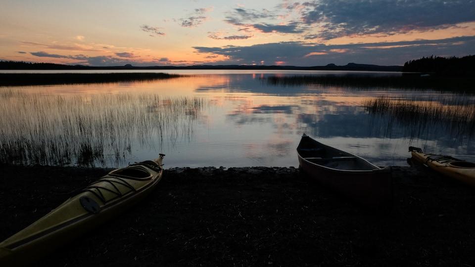 Coucher de soleil sur le lac Opasatica.