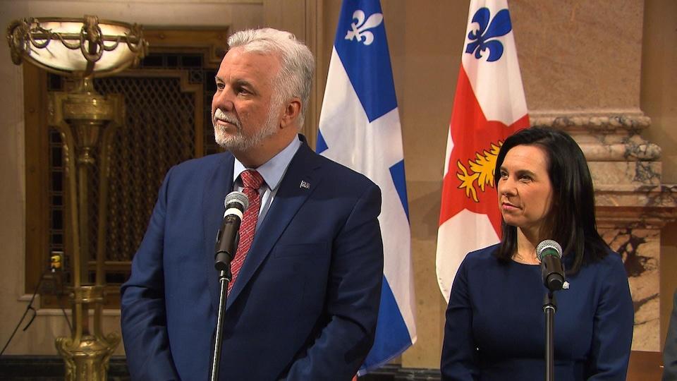 Philippe Couillard et Valérie Plante au micro