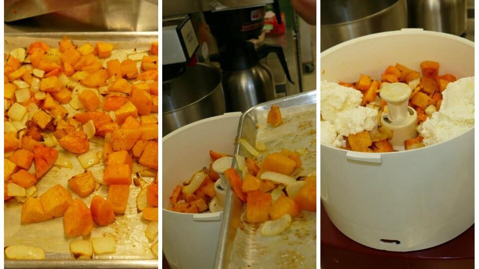 Dans le mélangeur, on place les courges et le fromage ricotta