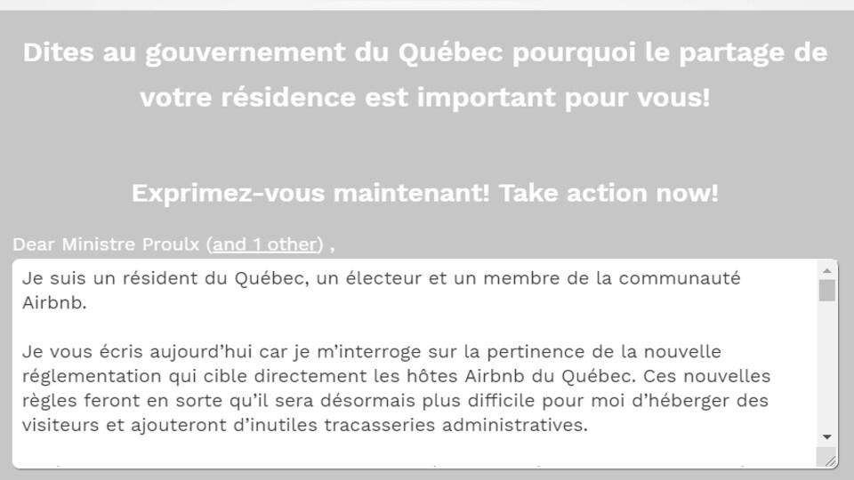 Un courriel écrit par Airbnb