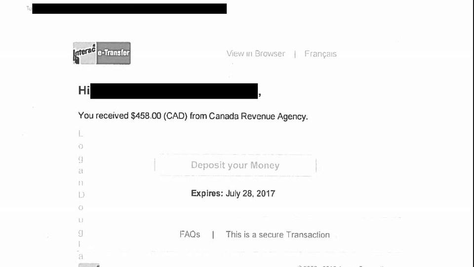 Un courriel intimant à la personne de déposer son argent en ligne, après un faux remboursement d'impôt de l'ARC.