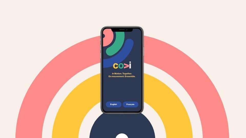 Photo promotionnelle de l'application COVI. On y voir un téléphone avec l'application ouverte et un arrière-plan d'arc-en-ciel.
