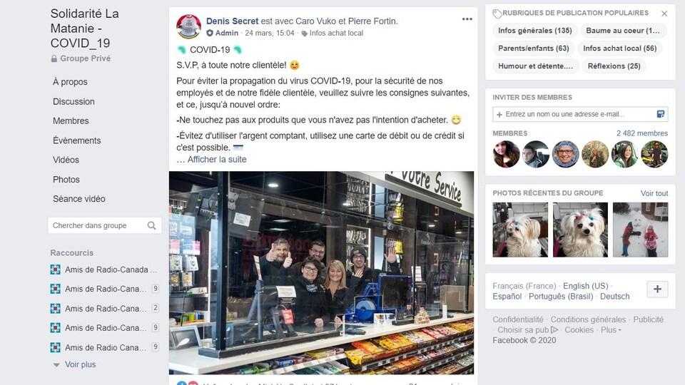 Une photo de la page Facebook de Solidarité La Matanie-COVOD-19