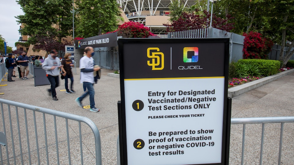 A poster asks people to prepare proof of their vaccination certificate or negative test.