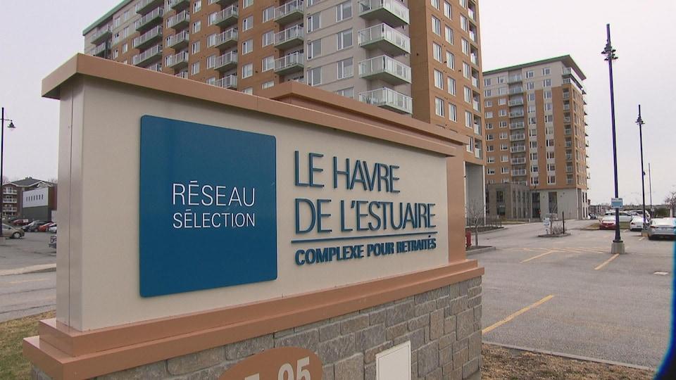 L'enseigne de la résidence pour personnes âgées Le Havre de l'Estuaire à Rimouski.