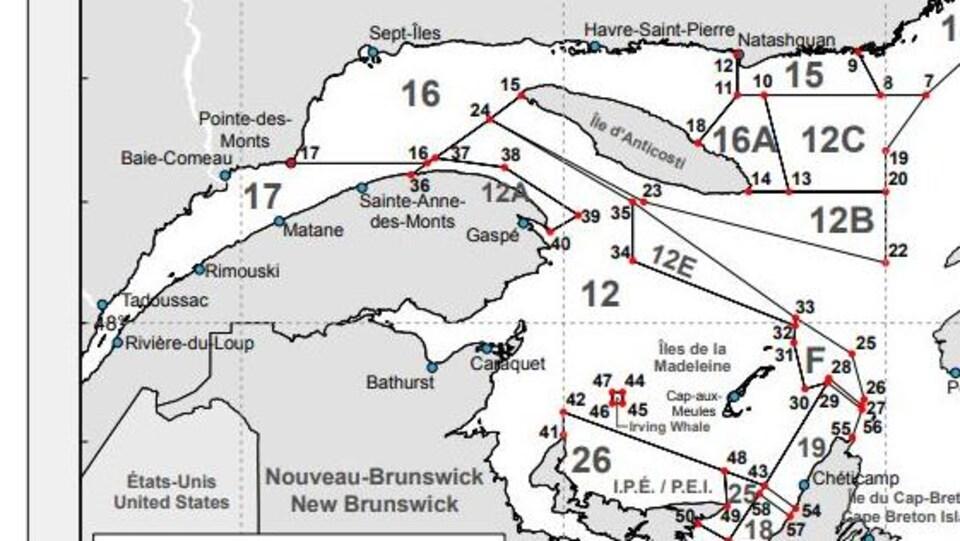 Carte qui délimite des zones de pêches au crabe des neiges.