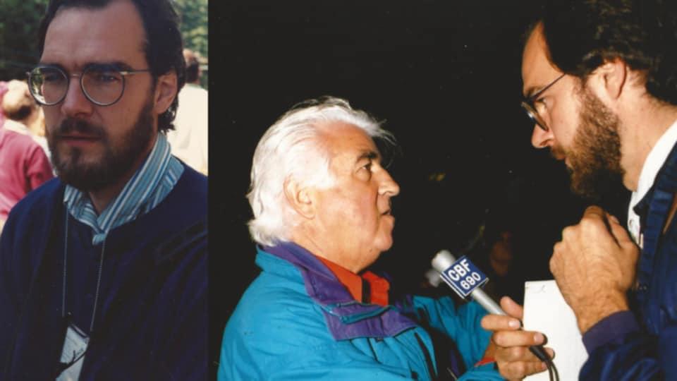 L'ex-journaliste Hugues de Roussan a couvert la crise d'Oka pour Radio-Canada pendant plusieurs semaines. Il interroge ici Joe Deom, l'un des traditionalistes Mohawk.