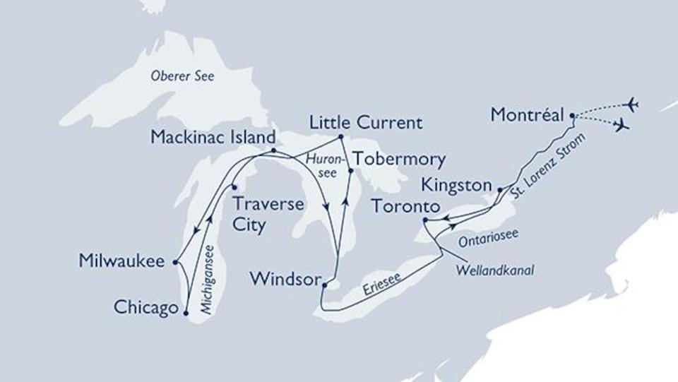 Carte des Grands Lacs. Les escales de la croisière sont indiquées