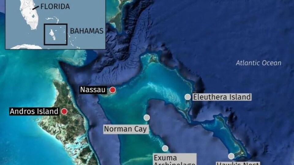 Une carte des Bahamas.