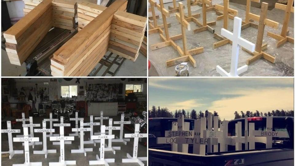 Photos de la fabrication des croix en bois.