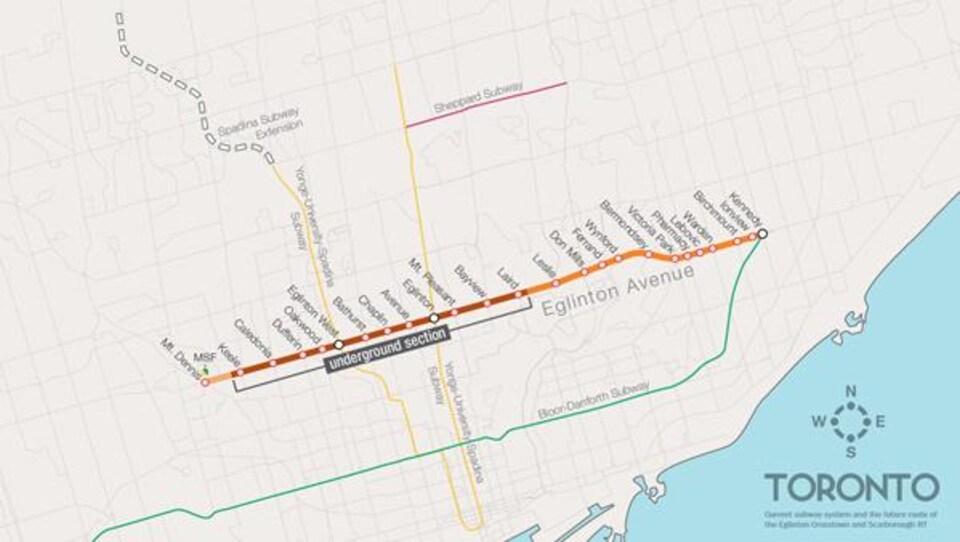 Carte de la Ville de Toronto illustrant le trajet effectué par les véhicules Crosstown.