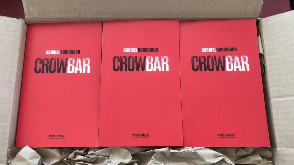Une boîte comprenant plusieurs exemplaires du livre à la couverture rouge.