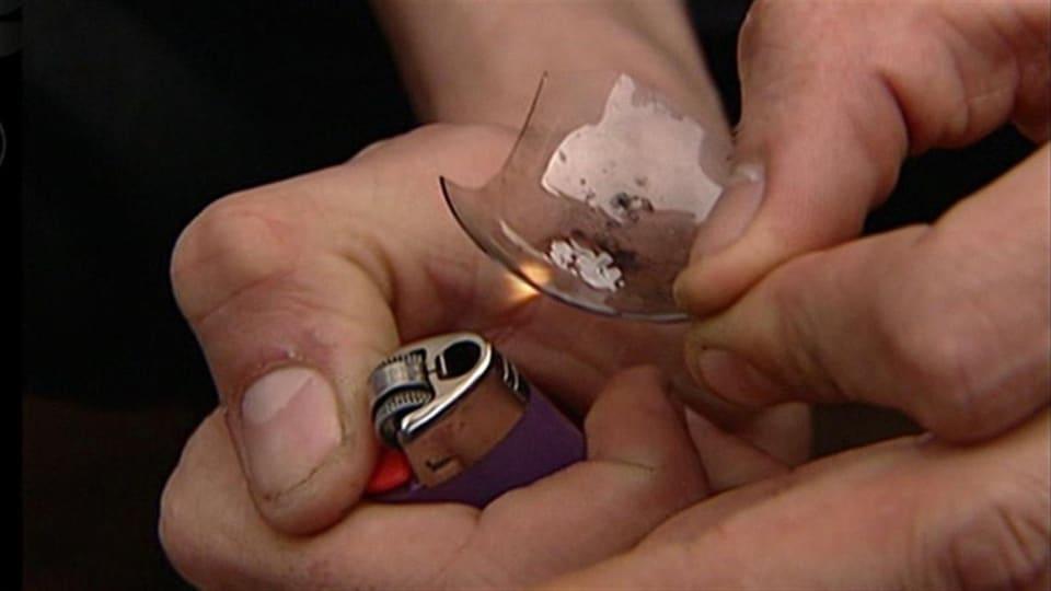 Un utilisateur de méthamphétamine en cristaux