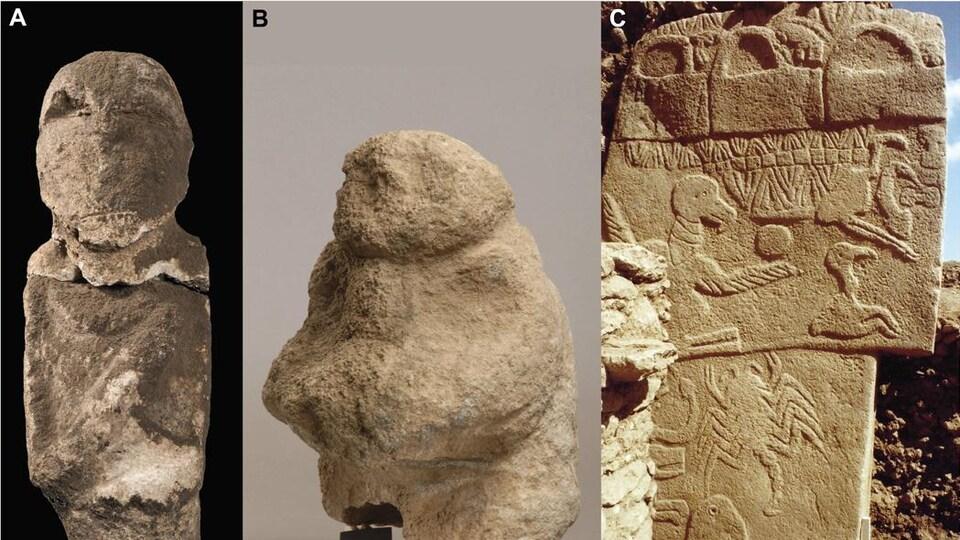 Quelques-uns des objets trouvés sur le site de Göbekli Tepe.