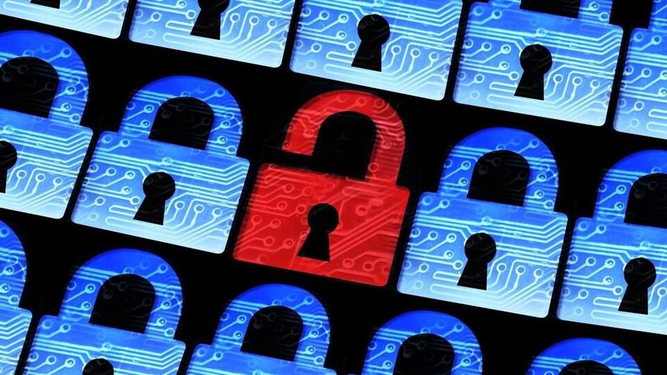 Un cadenas rouge ouvert parmi d'autres cadenas fermés symbolise un problème de sécurité informatique.