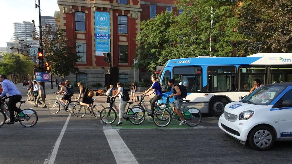 Des cyclistes reprennent leur route à partir d'un sas vélo, aux côtés d'un autobus de la STM et d'une voiture, à une intersection de Montréal.