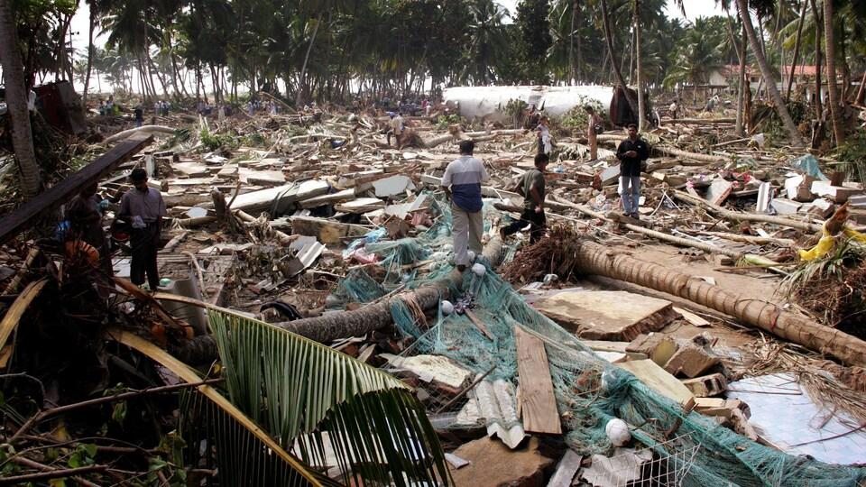Le village de Paraliya, au Sri Lanka, après le passage du tsunami de 2004.