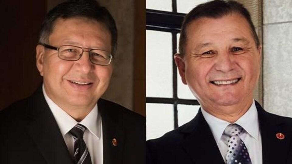 Montage photo des portraits de deux sénateurs.