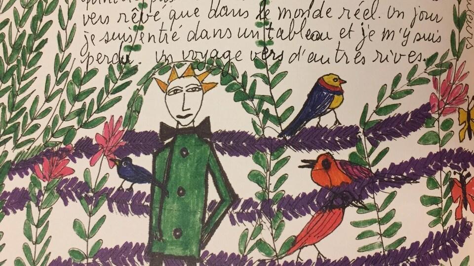 Sur la page, on aperçoit un homme portant un veston vert et un noeud papillon noir à travers des feuilles, des fleurs et des oiseaux de toutes les couleurs.