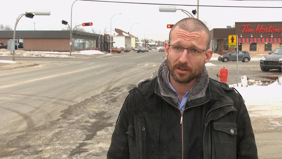 David Leboeuf en entrevue avec Radio-Canada à Sept-Îles.