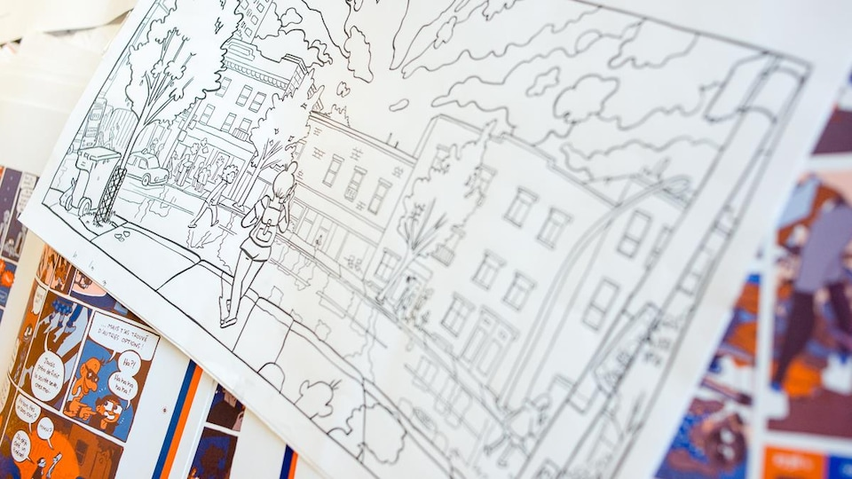 Détail d'une planche de la bande dessinée « De concert », représentant le boulevard Saint-Laurent de nuit.