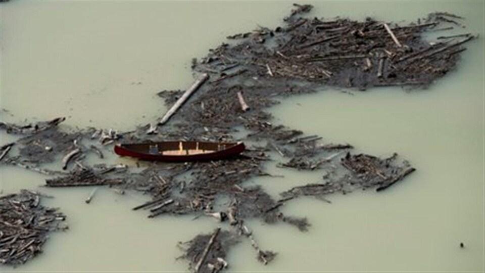 Des débris entraînés par le déversement de la mine se retrouvent dans le lac Polley, en Colombie-Britannique.
