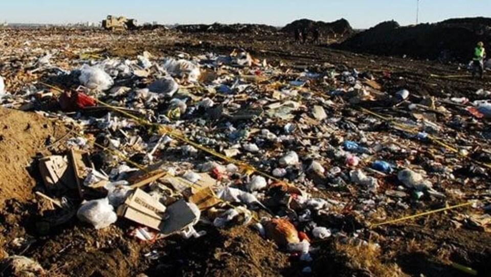 La décharge publique de Saskatoon remplie de déchets.
