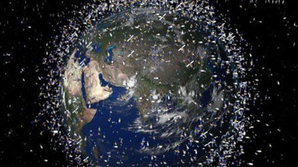 Un montage représentant des débris en orbite.
