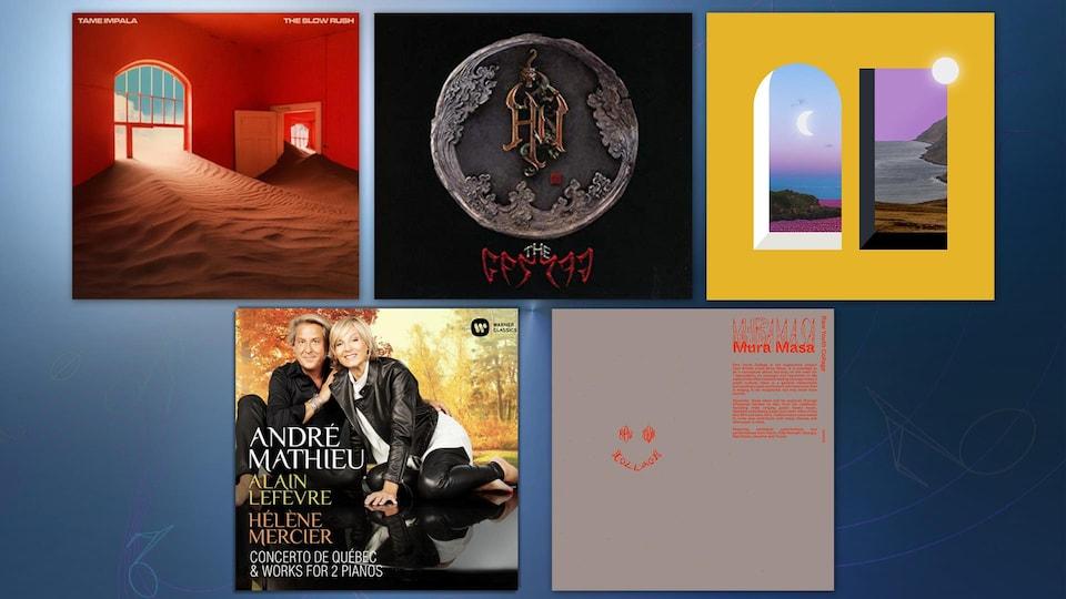 Montage des 5 albums suggérés cette semaine.