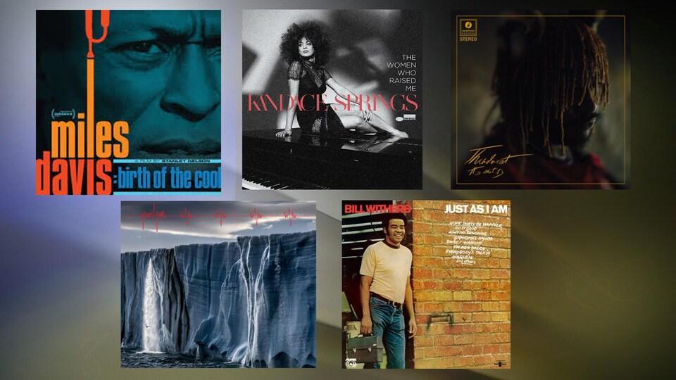 Montage des cinq albums discutés dans la chronique.