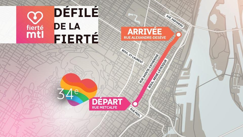 La carte de Montréal montre où a circulé le défilé de la fierté.